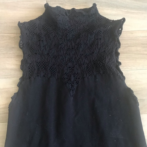Free People Tops - Free people black top mock lace xs s